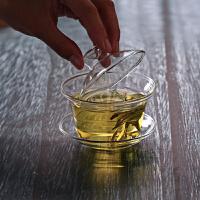 三才玻璃盖碗茶杯150ML茶道功夫茶具花茶杯大号手抓功夫敬茶碗琉