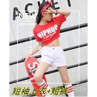韩版儿童爵士舞演出服装现代舞蹈女童街舞HIPHOP嘻哈表演红色卫衣 白色 裤+短袖+头巾袜