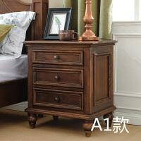 美式床头柜实木复古卧室做旧床边储物柜客厅边几美式乡村家具定制 整装