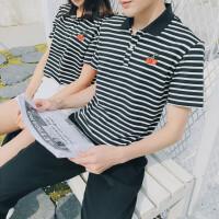 2018夏装新款青年韩版条纹POLO衫港风短袖T恤情侣装半袖修身男装