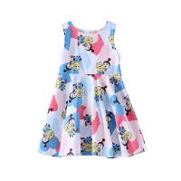 【2件5.5折价:93】小猪班纳女童短袖连衣裙圆领儿童卡通连身裙中大童