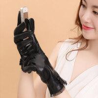 女士皮触屏手套蕾丝边羊皮手套 开车骑车户外运动加厚保暖手套