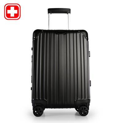瑞士军刀 20-24寸银色竖条型全铝拉杆万向轮拉杆箱登机箱旅行箱BX851103闪电发货 支持货到付款  (礼品卡支付)