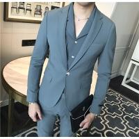 2018春季新款西服三件套男士修身纯色套装韩版发型师西装休闲正装