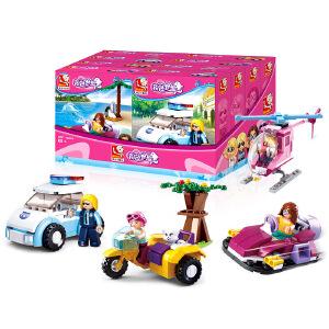 【当当自营】小鲁班新粉色梦想女孩海豚湾系列儿童益智拼装积木玩具 汽车/飞机/船/汽艇(4款装)M38-B0600