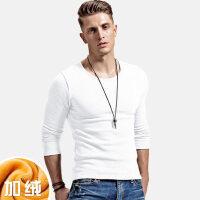 男士t恤长袖圆领加绒加厚保暖紧身白色体恤 修身打底纯色内衣