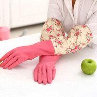 红兔子 家务手套 乳胶清洁手套 轻便束口花袖手套单层大红色