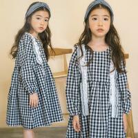 2018年春季女童长袖格子韩版连衣裙子中大童儿童雪纺花边拼接裙子