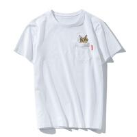 男式T恤新款 2018短袖T恤男装 休闲猫头刺绣黑白T恤衣服夏款潮牌