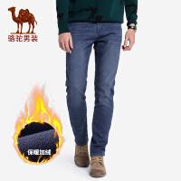 骆驼男装 秋冬新款加绒加厚牛仔裤男士韩版潮流休闲保暖长裤