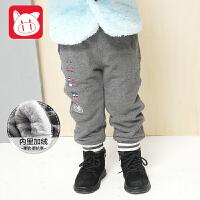 【4件5折】小猪班纳童装宝宝加绒裤子2018冬装新款儿童休闲裤男童长裤