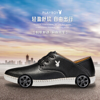playboy花花公子休闲皮鞋男真皮韩版男士板鞋青年低帮鞋