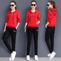 运动服女长袖卫衣两件套韩版运动套装女时尚休闲跑步服