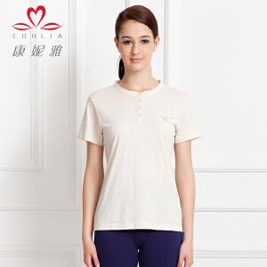 康妮雅夏季新款女装 女士上衣棉质麻色半开圆领T恤