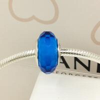 PANDORA潘多拉 靛蓝色切割面琉璃925银琉璃串饰791607