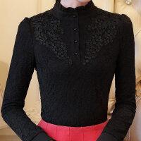 蕾丝打底衫女装长袖立领泡泡袖加绒加厚修身秋冬新蕾丝衫上衣小衫