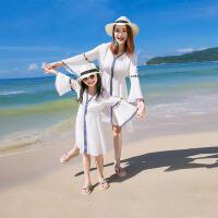 儿童海边度假沙滩裙女童短袖连衣裙亲子装母女装夏装白色海滩裙子