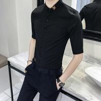 款男士潮流刺绣七分袖衬衫修身韩版纯色白衬衣发型师寸衫