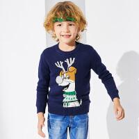 小猪班纳童装男童卡通加绒毛衣儿童圆领针织衫