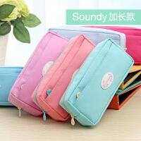 笔袋简约韩国女学生时尚帆布文具笔盒大容量女生文具袋 男铅笔袋