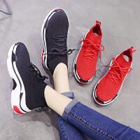 弹力袜子鞋春季女休闲运动鞋高帮鞋松糕厚底跑步单鞋