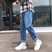 夏季九分牛仔�男生ins潮牌直筒��松�L��腿�子男潮流