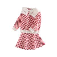 【用券价:109】小猪班纳童装女童长袖套装裙子宝宝红色格子两件套儿童上衣半身裙
