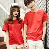 学校班服定制T恤�S女学生短袖情侣装韩流圆领男大红色