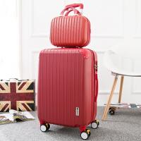 拉杆箱旅行箱包行李箱登机箱子万向轮密码箱男女20寸22寸24寸28寸 红色 20寸登机箱