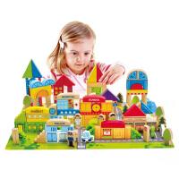 Hape125块城市情景积木1-6岁进口榉木儿童玩具婴幼玩具木制玩具E8029