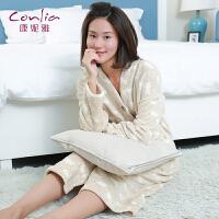 【便服】康妮雅家居服开衫 女士秋冬珊瑚绒加厚居家长袖长裙外套