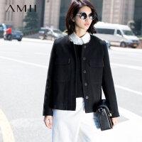 【限时秒杀】Amii冬直筒羊毛呢子大衣大码短款毛呢外套11581904