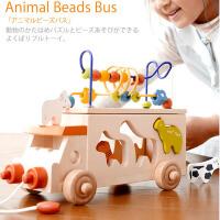 木制动物绕珠车儿童动物形状认知积木配对益智玩具宝宝拖拉玩具车