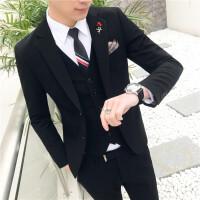 新款潮男英伦风个性纯色小西装男青年社会小伙时尚休闲西服套装