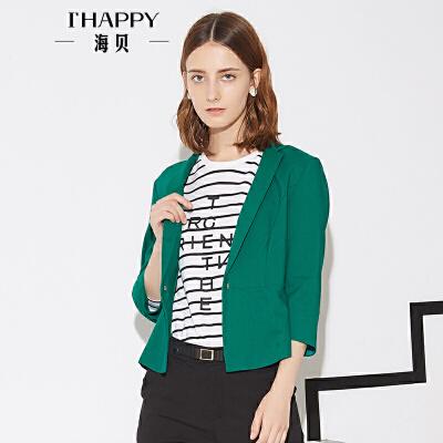海贝秋季新款女装 简约一粒扣翻领纯色短款小西装外套
