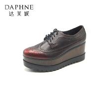 Daphne/达芙妮秋款圆头坡跟英伦风休闲女士单鞋