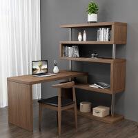 北欧电脑台式桌家用胡桃色学生写字台旋转角书桌书柜书架组合一体l