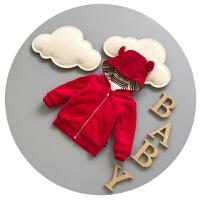 婴儿棉袄秋冬抓绒0-1岁宝宝卫衣加厚冬季新生儿百天衣服开衫潮3-6