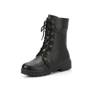 ELEISE美国艾蕾莎新品秋冬151-718韩版超纤皮平跟女士短靴马丁靴