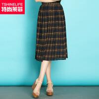 特尚莱菲 夏季新款半身裙女英伦格子雪纺中长裙松紧腰显瘦百褶半裙子 WWH6122
