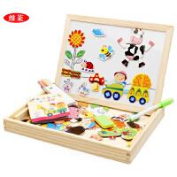 儿童玩具木制农场乐园磁性拼拼乐双面拼图画板益智玩具
