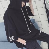 情侣装短袖卫衣男韩版宽松蝙蝠袖连帽T恤学生夏季风半袖青年潮
