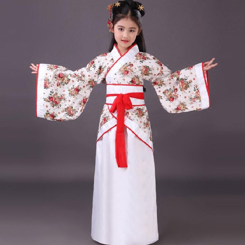 新款儿童汉服曲裾 书童三字经演出服古装公主服汉服影楼写真