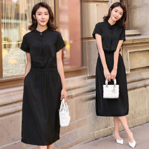 RANJU 然聚2018女装夏季新品新款短袖赫本韩版黑色开叉长裙气质收腰显瘦连衣裙女
