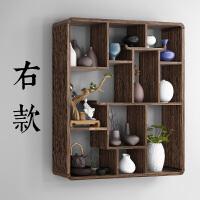 博古架多宝阁实木新中式挂墙茶架茶具架墙上置物架现代简约墙壁 1米以下