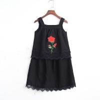 2018夏女童两件套装儿童吊带背心裙亚麻上衣宝宝绣花贴黑色连衣裙