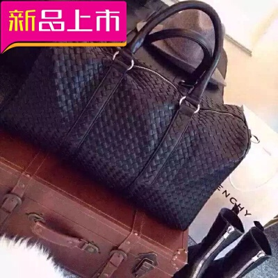 手提旅行包男大容量编织行李包女真皮休闲健身包单肩旅行袋潮 黑色 发货周期:一般在付款后2-90天左右发货,具体发货时间请以与客服协商的时间为准