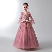 女童长袖生日公主裙花童蓬蓬纱儿童礼服小主持人钢琴演出服秋冬季