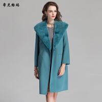秋冬女士中长款外套水貂披肩领加棉双面羊毛呢大衣M-616355