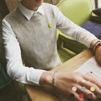 秋冬装青少年文艺青年无袖羊毛衣潮流修身针织衫男士小码背心线衣